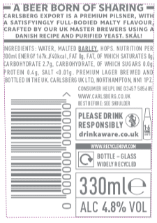 Carlsberg export label